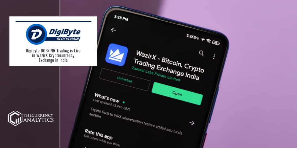 Digibyte DGB/INR Trading is Live in WazirX Cryptocurrency Exchange in India